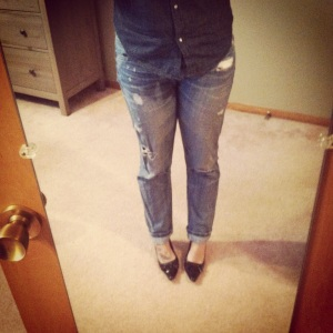 boyfriend jeans, chambre, and pointy toe shoes.