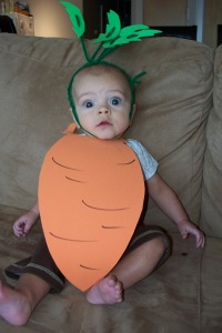 One very cute, but uncooperative, baby carrot.