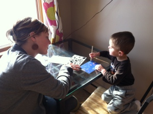 Making art with his Aunt Rhiannon
