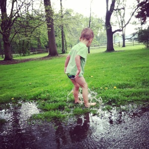 Playing in the rain...again, pantless