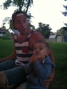 Theo and Uncle Josh, being silly.