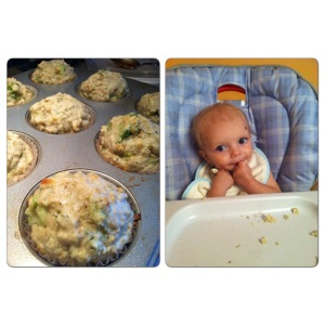 Oliver's first BLW moment-homemade broccoli cheddar muffins. A hit for the whole family!