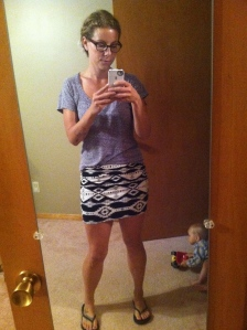 Just hanging around the house wearing a comfy skirt in an awesome aztec print!