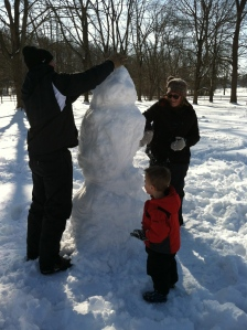 Building a snowman together!