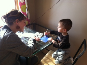 Theo loves doing crafts with his Aunt Rhiannon!