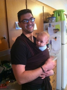 We love to wear our babies. Daddy wearing Oliver in the Moby Wrap.