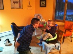 "Daddy doing ""magic"" tricks."