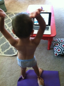 Big boy underwear by day (especially when doing yoga), and pull-ups by night...we are getting there...