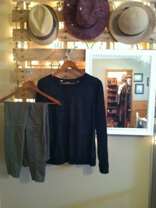Military inspired skinnies and  a lady-like black sweater.