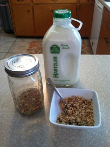 homemade granola, and Theo's special milk