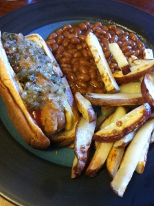 homemade veggie dogs and french fries of course!