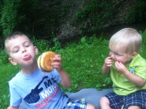boys eating hamburgers. Gardening, Yoga and Other Things I Love (A Week in Review)