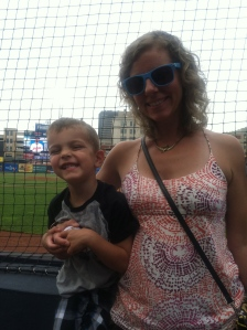 theo and mommy. take me out to the ball game
