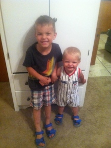 boys in their beach shoes. We're Going to the Beach! And This is What We're Taking