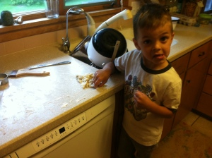 I thought Theo wanted to help me make pie. Ended up he just wanted to eat the pie dough scraps.