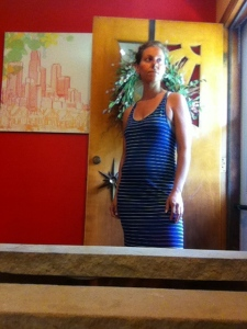 blue striped maxi. Clothing Capsule: Pregnancy Edition
