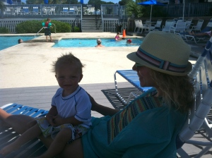 mommy and oliver by the pool. my vacation top 10 list