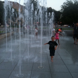 Theo loved running through the fountains on one of Savannah's downtown squares.