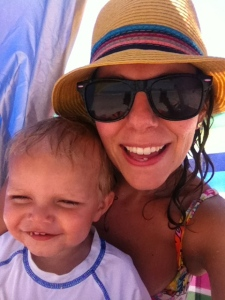 mommy and oliver at the beach. my vacation top 10 list