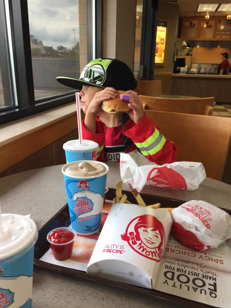 For the record, all this food, and I do mean allll of it, was for Theo. I can barely get the kid to eat at home, but take him to Wendys and look out!