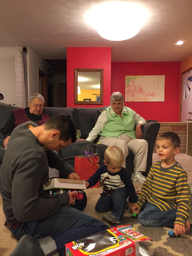 Opening presents with family